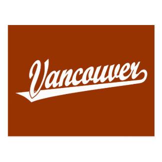 Vancouver script logo in white postcard
