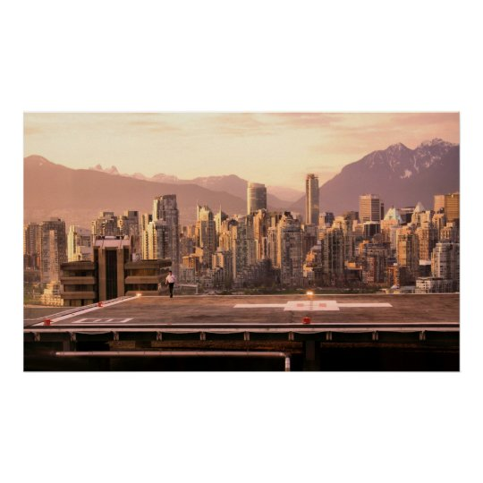 Vancouver Skyline Sunrise Panorama Poster