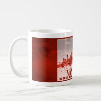 Vancouver skyline with red grunge coffee mug
