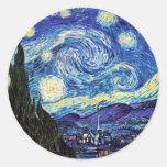VanGogh, Starry Night Round Sticker