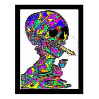 VanGogh's Calavera Skull Smoking Cigarette Postcard