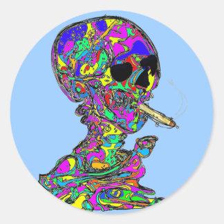 VanGogh's Calavera Skull Smoking Cigarette Round Sticker