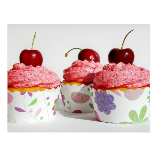 Vanilla and agave nectar cupcakes with cherries postcard