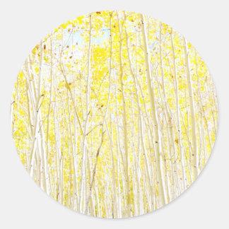 Vanilla Cake Aspen trees Classic Round Sticker