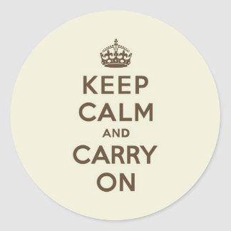 Vanilla Chocolate Keep Calm and Carry On Classic Round Sticker