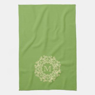 Vanilla Cream Scroll Wreath Monogram on Leaf Green Tea Towel