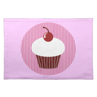 Vanilla Cupcake and Pink Stripes Placemat
