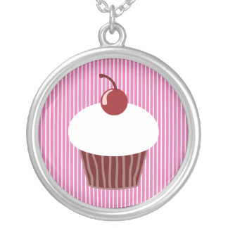 Vanilla Cupcake and Pink Stripes Round Pendant Necklace