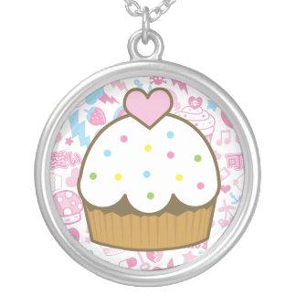 vanilla cupcake round pendant necklace