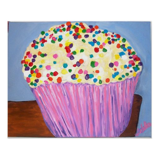 """Vanilla Cupcake With Sprinkles"" Poster"