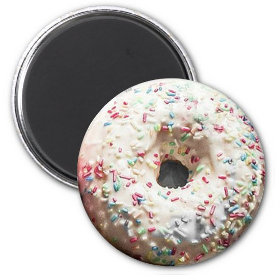 Vanilla Frosted Sprinkled Doughnut Fun Food Magnet