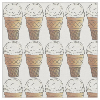 Vanilla Ice Cream Icecream Cake Cones Fabric