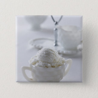 Vanilla ice cream in a white environment 15 cm square badge