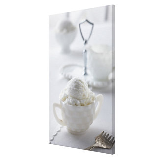 Vanilla ice cream in a white environment stretched canvas print