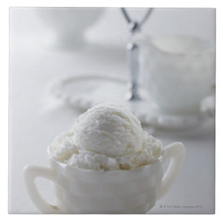 Vanilla ice cream in a white environment tile