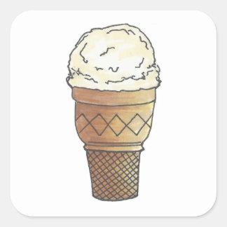 Vanilla Ice Cream Scoop Cake Cone Dessert Summer Square Sticker