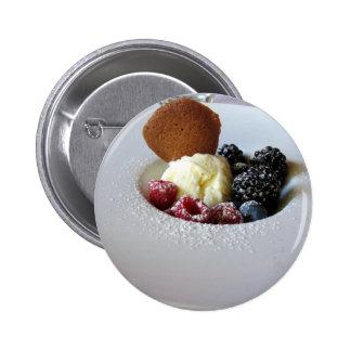 Vanilla ice cream with berries 6 cm round badge