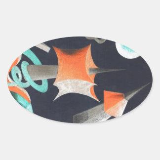 Vanishing Shapes I Oval Sticker
