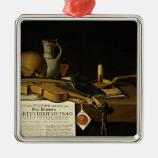 Vanitas still life homage Silver-Colored square decoration