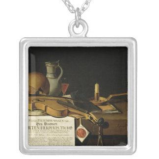 Vanitas still life homage silver plated necklace