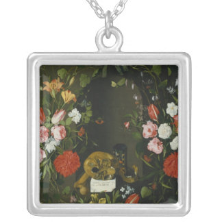 Vanitas Still Life with Flowers Silver Plated Necklace