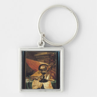 Vanitas with a Crystal Ball Silver-Colored Square Key Ring