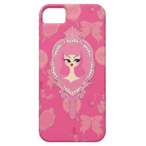 Vanity Pink Mirror Girl iPhone 5 Phone Case iPhone 5 Cases