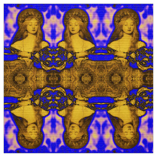 VANITY WOMAN BEAUTY-FASHION / GOLD BLUE FRACTALS FABRIC