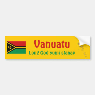 Vanuatu Flag + Map Bumper Sticker
