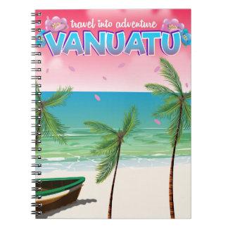 "Vanuatu ""travel into adventure"" travel poster. notebooks"