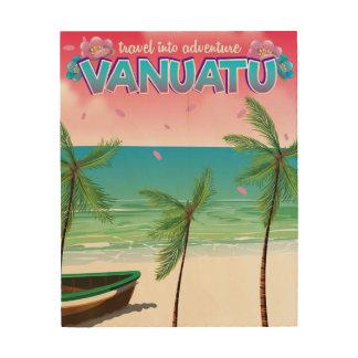 "Vanuatu ""travel into adventure"" travel poster. wood print"