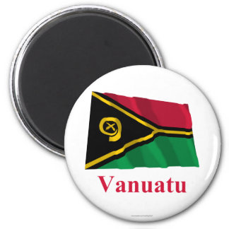 Vanuatu Waving Flag with Name Magnet