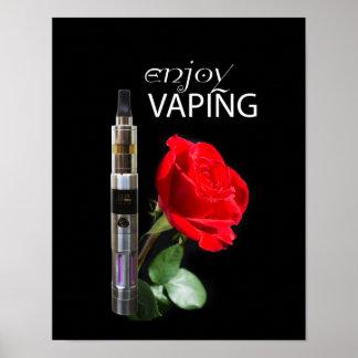 Vaping and rose flower poster