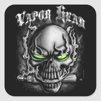 Vapor Head Black Square Sticker