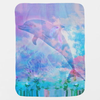 Vaporwave dolphin in the sky baby blanket