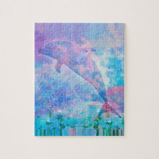 Vaporwave dolphin in the sky jigsaw puzzle