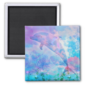 Vaporwave dolphin in the sky magnet