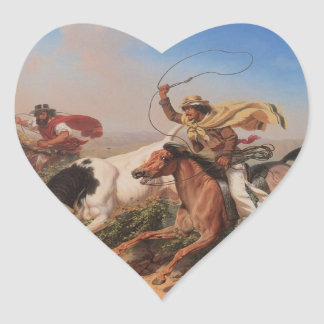 Vaqueros Roping a Steer Heart Sticker