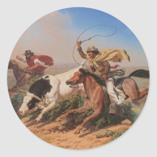Vaqueros Roping a Steer Round Sticker