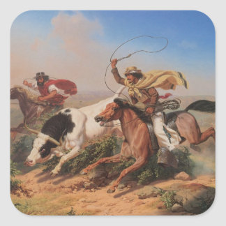 Vaqueros Roping a Steer Square Sticker