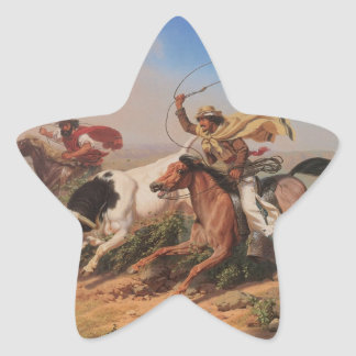 Vaqueros Roping a Steer Star Sticker