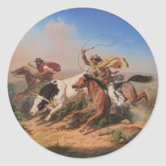 Vaqueros Roping a Steer Classic Round Sticker