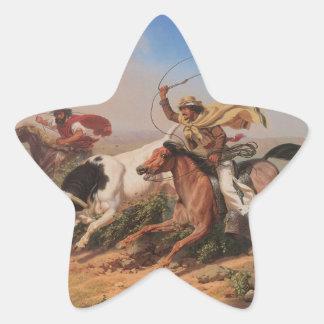 Vaqueros Roping a Steer Star Sticker