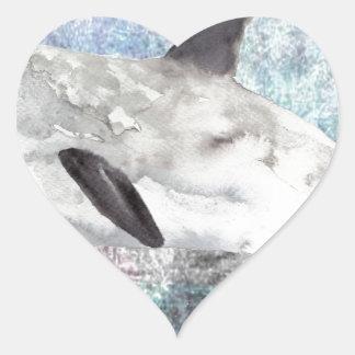 Vaquita River Dolphin Endangered Animal Painting Heart Sticker