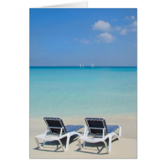 Varadero, Cuba. Sand And Beach Chairs Card