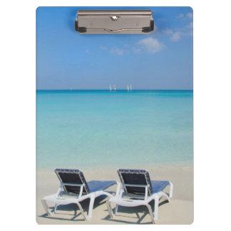 Varadero, Cuba. Sand And Beach Chairs Clipboard