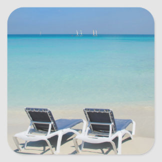 Varadero, Cuba. Sand And Beach Chairs Square Sticker