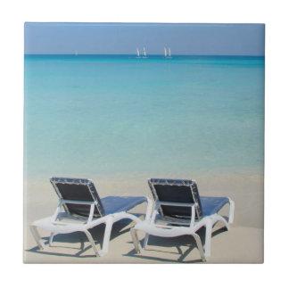 Varadero, Cuba. Sand And Beach Chairs Tile