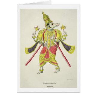 Varaha, engraved by de Marlet (colour litho) Card