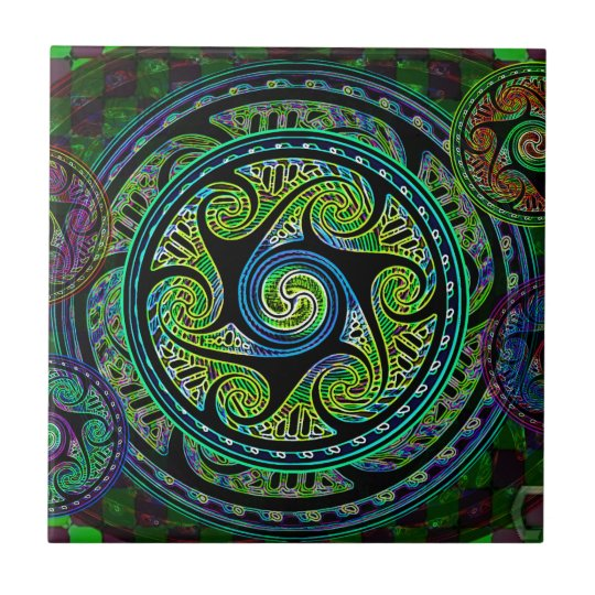 Variated Spheres Vibrant Celtic Knot Small Square Tile
